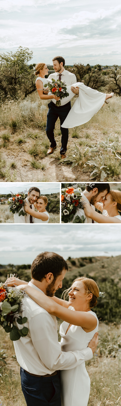 Hillary and Will posing on a mountainside for their bride and groom portraits.