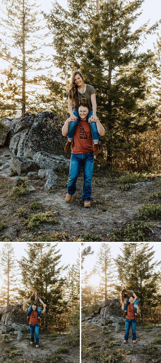 Rylee Driscoll wears a green Idaho tshirt and blue jeans while sitting on husband Riley Thomas's shoulders who is wearing a red Idaho tshirt and blue jeans. They walk towards the camera smiling and holding hands in the mountains in Boise, Idaho.