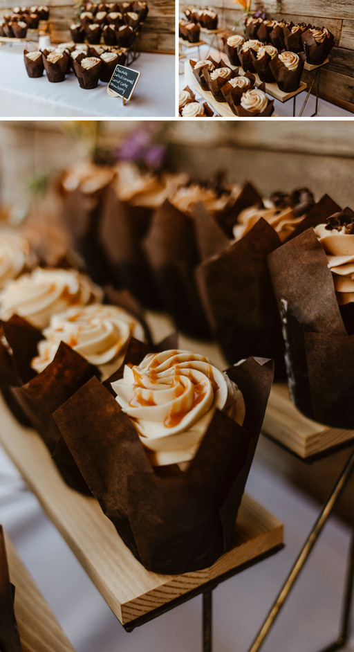 Chocolate cupcakes with buttercream frosting with a caramel drizzle.