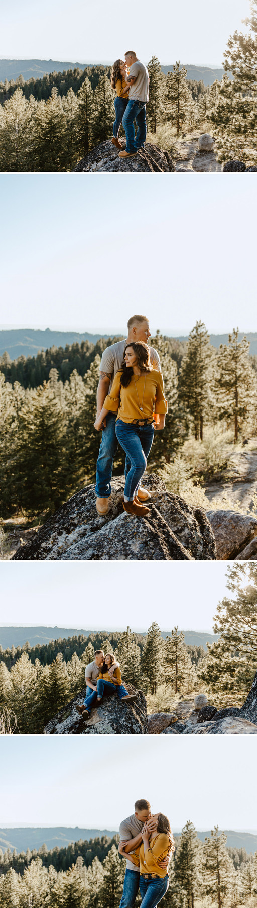 Image collage of Riley Thomas and Rylee Driscoll standing and kissing on a rock with pine tress in the background. Image taken on Bogus Basin, in Boise, Idaho.