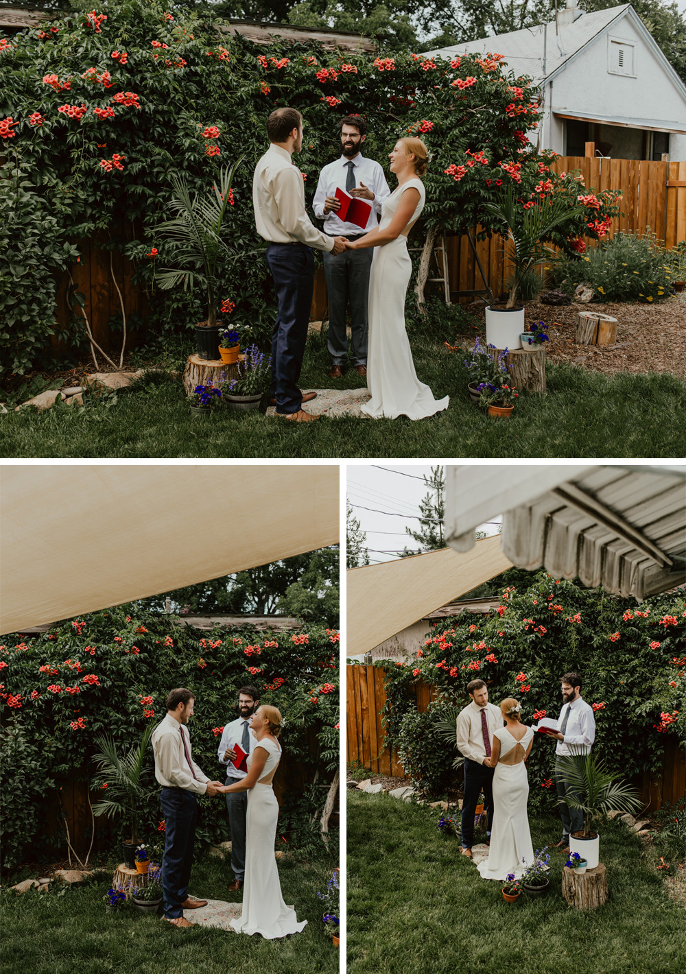 Hillary and Will holding hands and saying their vows.