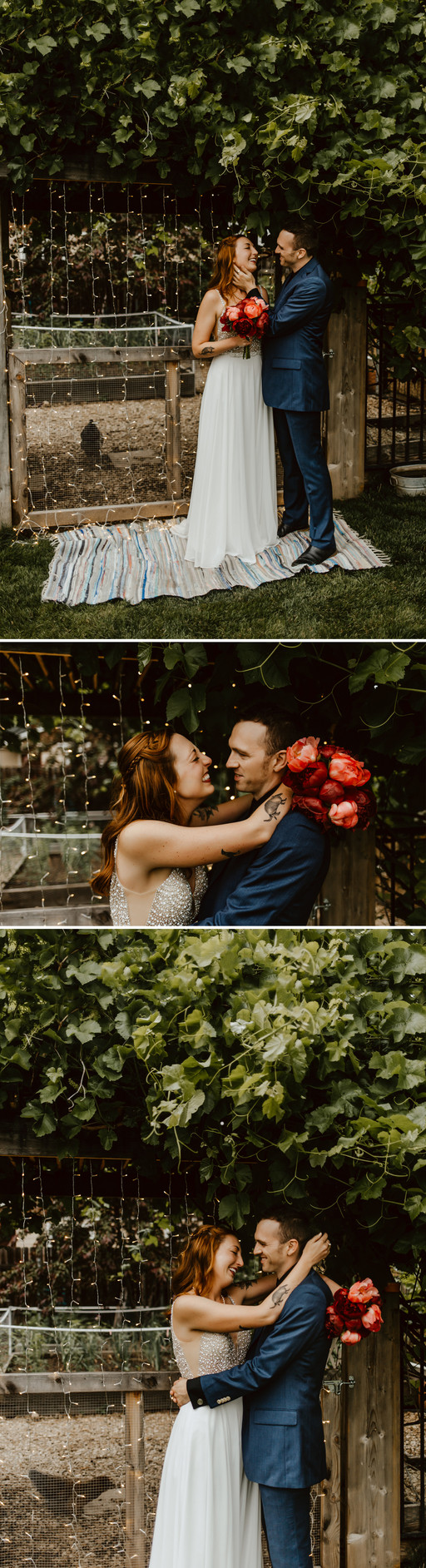 Andy and Nicole standing under green foliage holding bridal bouquet.