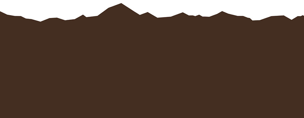 White and brown graphic with mountain shapes.