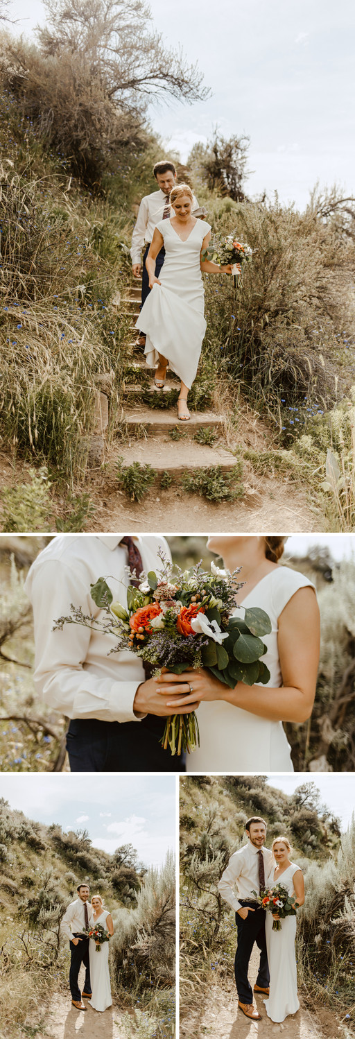 Hillary and Will walk down wooden stairs while holding the bridal bouquet.