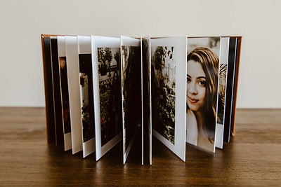 Open album with pages spread.