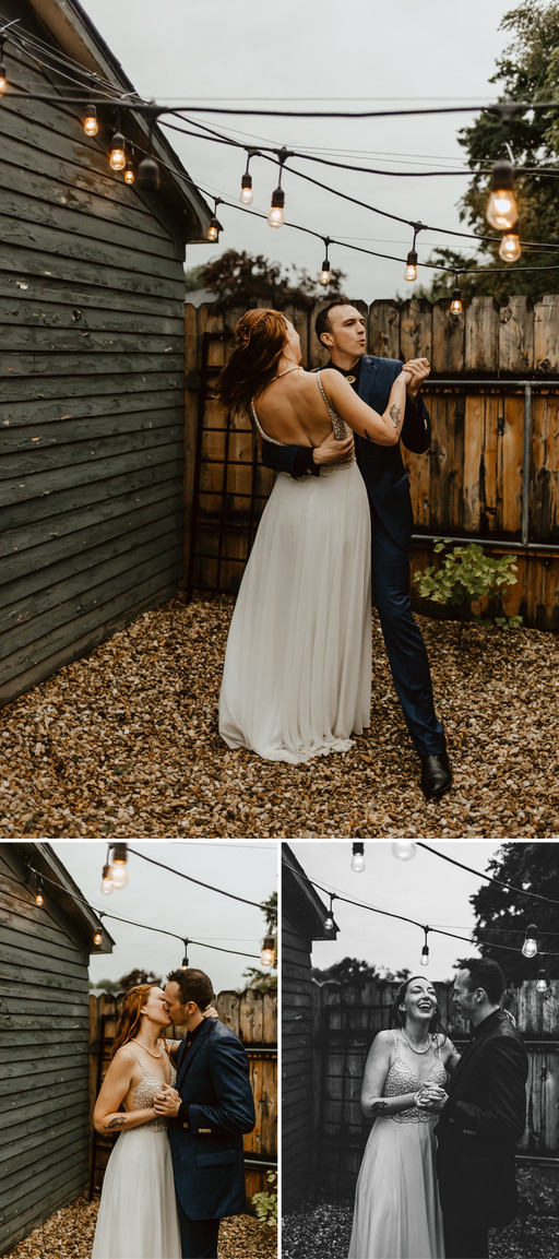 Andy and Nicole dancing in the rain under stringed lights..