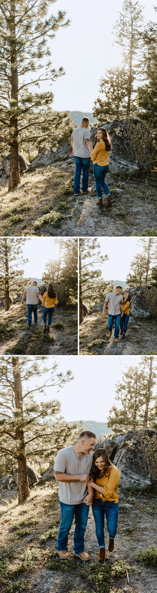 Image collage of Riley Thomas and Rylee Driscoll walking and holding hands. Image taken on Bogus Basin, in Boise, Idaho.