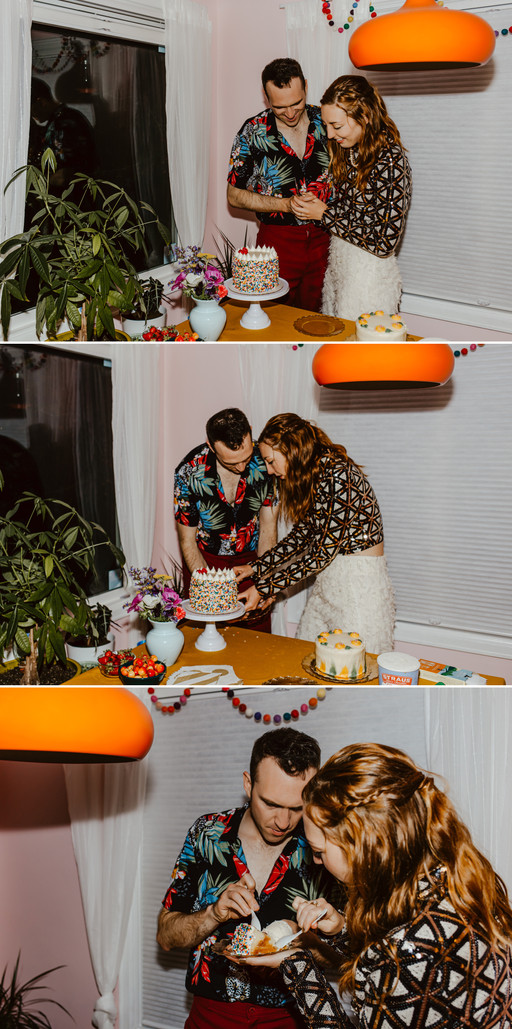 Andy and Nicole cutting a sprinkle cake and feeding each other.