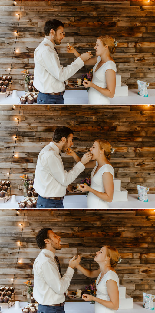 Hillary and Will feeding each other cupcakes.