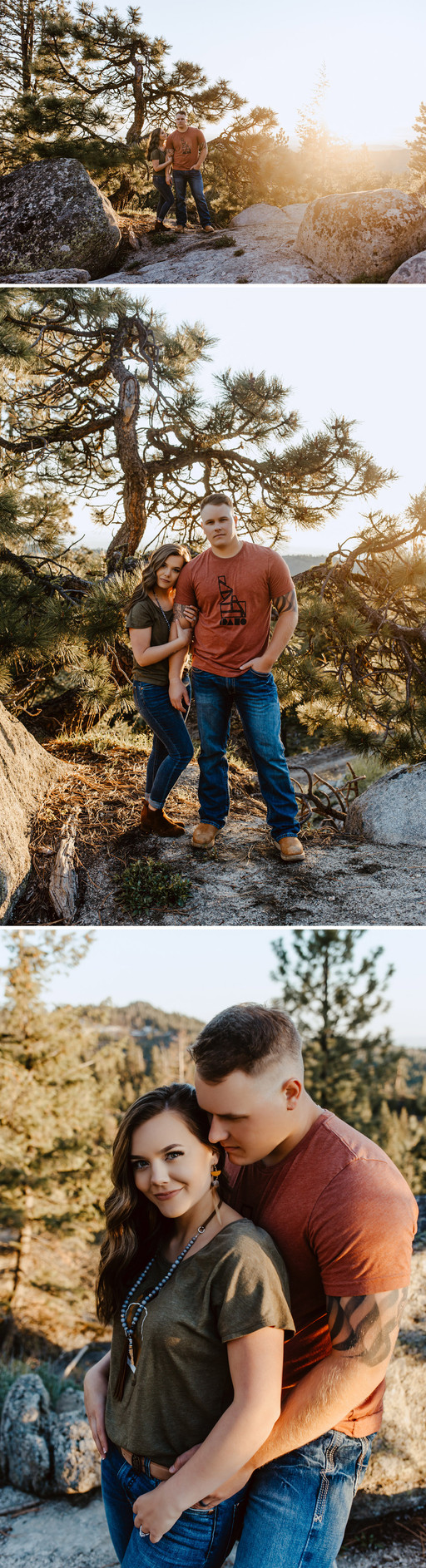 Collage of portraits of Riley Thomas wearing a red Idaho tshirt and blue jeans with wife Rylee Driscoll wearing green Idaho tshirt and jeans standing looking at the camera in front of the sunset.