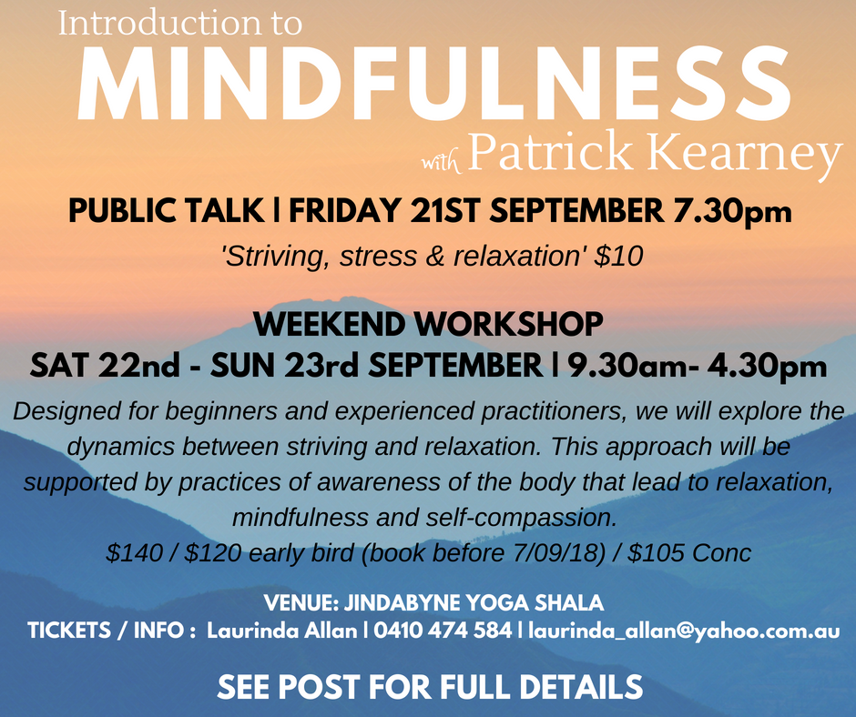 Mindfulness Workshop Sept 2018