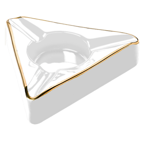Ashtray--Trident White & Gold