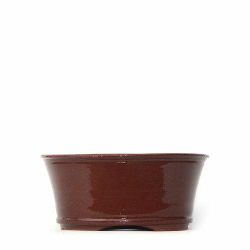 Sırlı Yuvarlak Bonsai Saksısı No.TP3-1-Kahverengi (18 cm)
