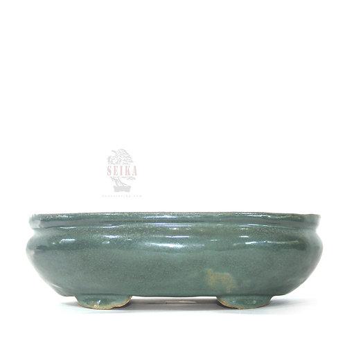 Sırlı Oval Bonsai Saksısı No.1-Yeşil (27.5 cm)