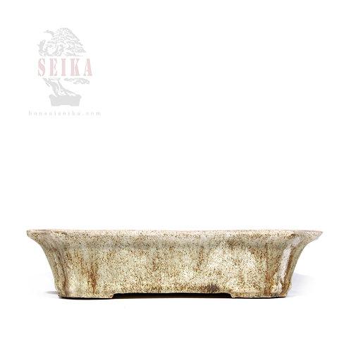 Sırlı Köşeli Bonsai Saksısı No.3-Beyaz (28 cm)