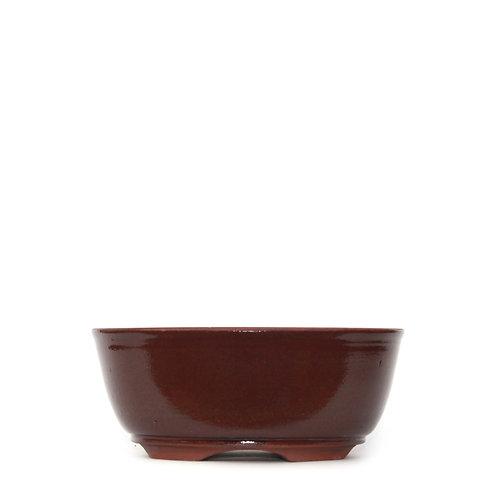 Sırlı Yuvarlak Bonsai Saksısı No.TP4-4-Kahverengi (20 cm)