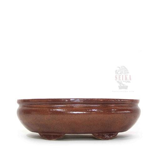 Sırlı Oval Bonsai Saksısı No.1-KH (23 cm)