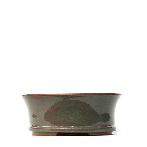 Sırlı Yuvarlak Bonsai Saksısı No.TP3-3-Yeşil (20 cm)