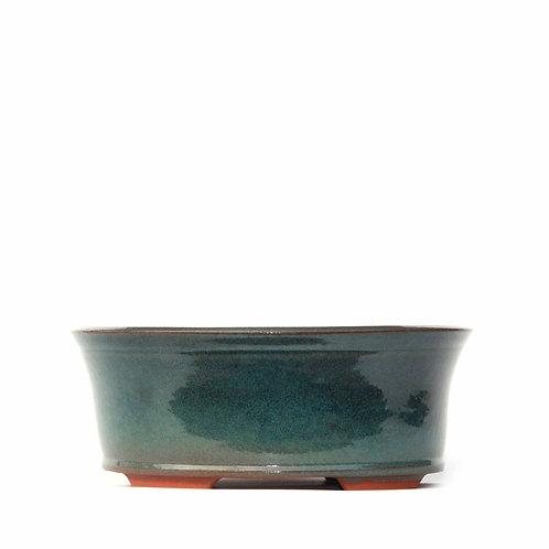 Sırlı Yuvarlak Bonsai Saksısı No.TP3-6-Yeşil (21 cm)