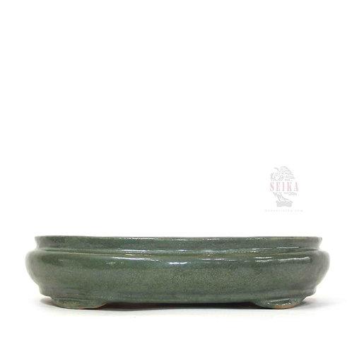 Sırlı Oval Bonsai Saksısı No.7-Yeşil (34 cm)
