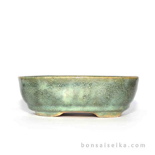 Sırlı Oval Bonsai Saksısı No.3-Yeşil (17 cm)