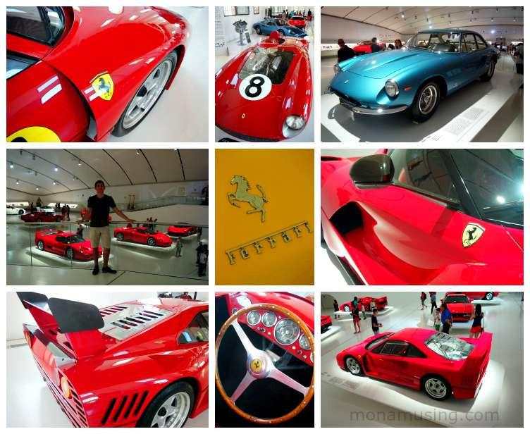 ferrari cars on display in the Museo Ferrari in Modena, near Bologna