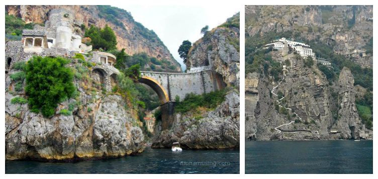 stone bridge and clifftop hotel on Italy's Amalfi coast