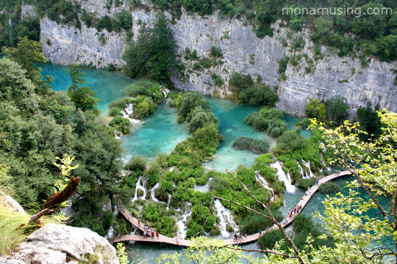 looking down on some of the turquoise lakes in Croatia's Plitvice National Park