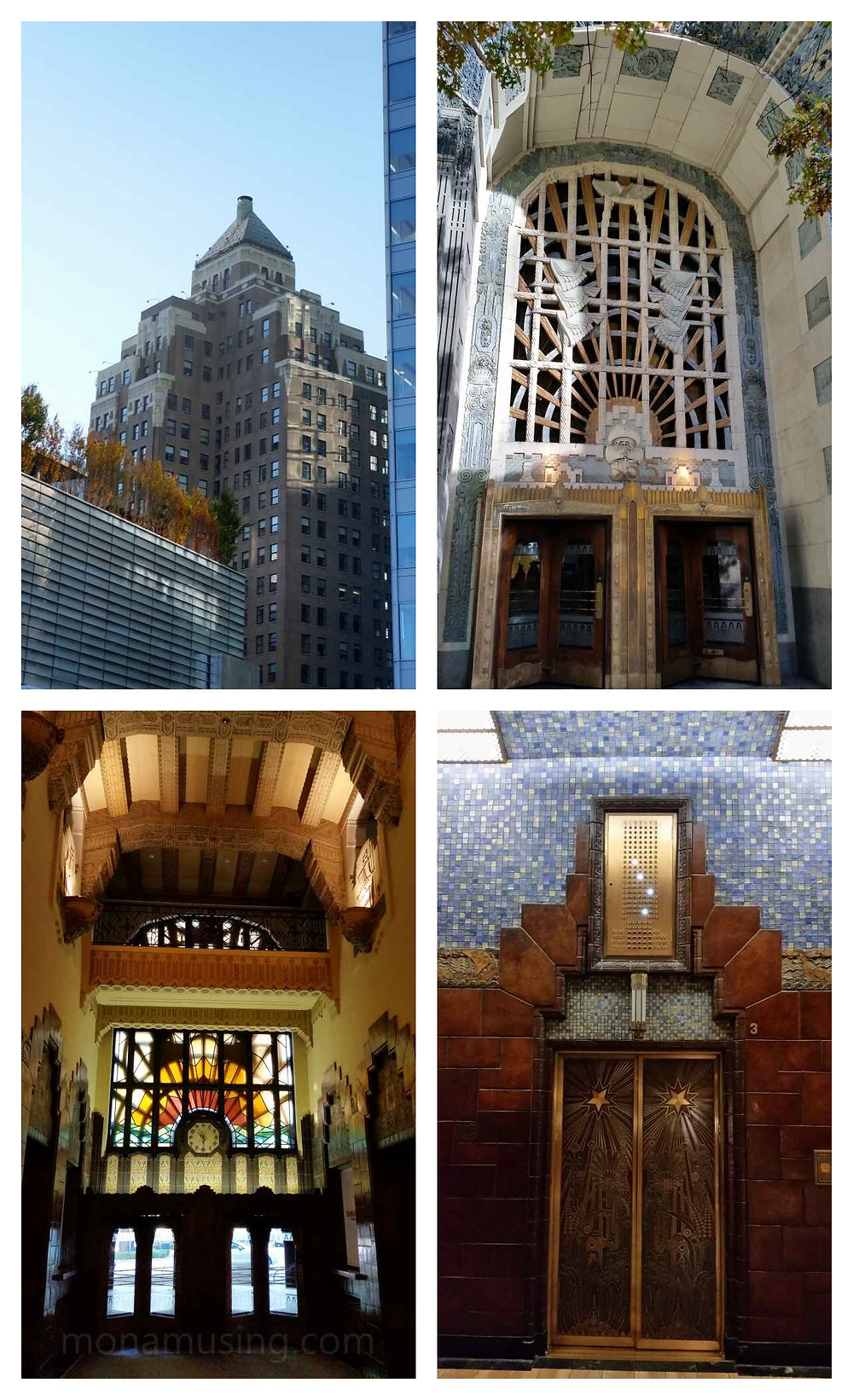 interior and exterior of the Marine Building in Vancover, a fine example of Art Deco architecture