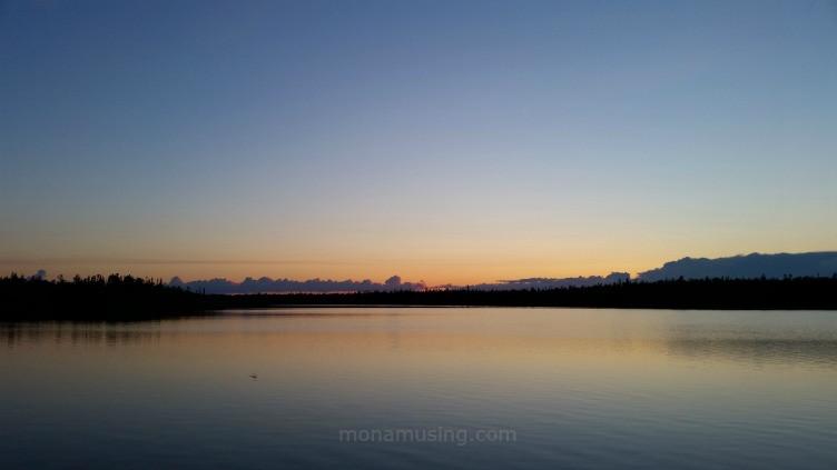 neverending sunset in June at Long Lake in Yellowknife, Northwest Territories