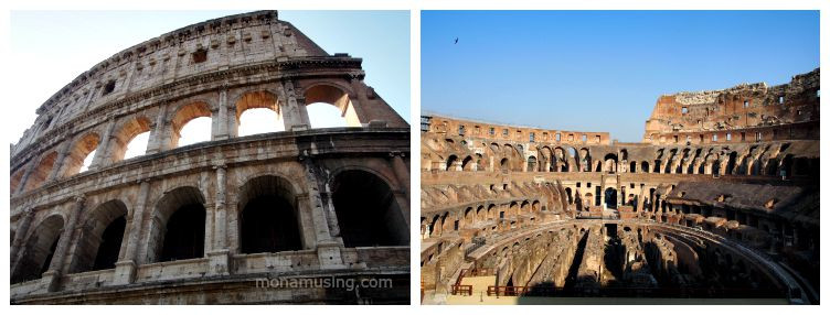 Exterior and interior of the Colosseum in Rome