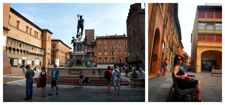 bologna centre, the Fountain of Neptune and Piazza Maggiore