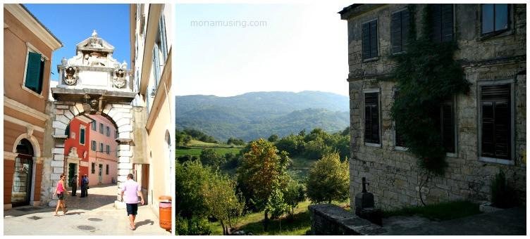 street in Rovnij and view of green hills aroud Hum, Croatia