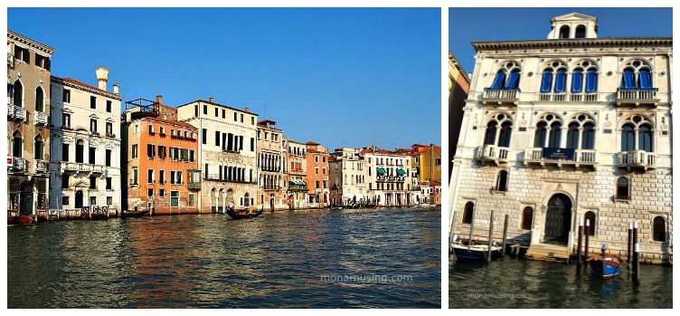 palazzos along the Grand Canal in Venice, viewed from the water