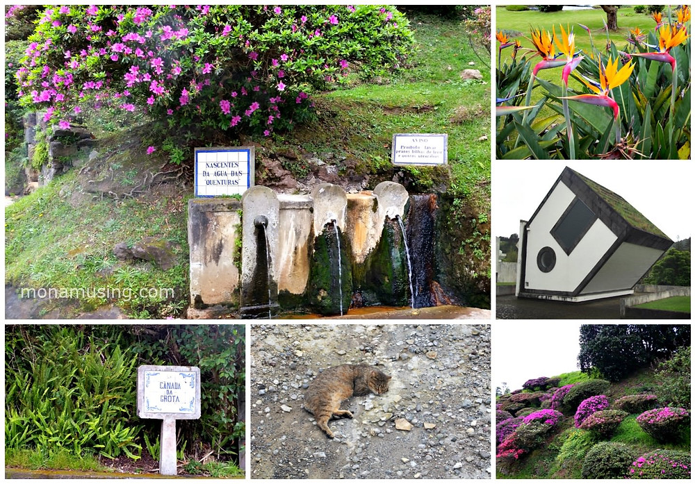 Sites around Furnas on Sao Miguel Island, including public mineral water taps and an upside down church