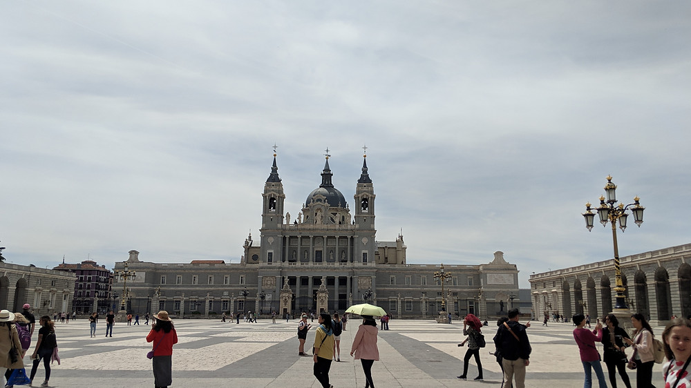 exterior of Palacio Real (Royal Palace) in Madrid, Spain