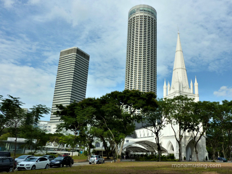 St. Andrews Cathedral and modern towers in Singapore