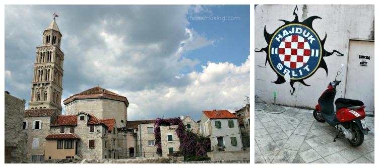 """crumbling buildings and a motorcyle in Split, Croatia"