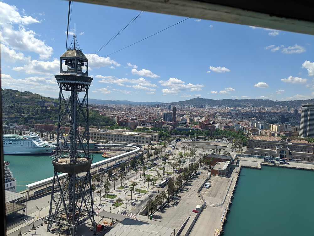 Cable car from Montjuic to Barceloneta in Barcelona