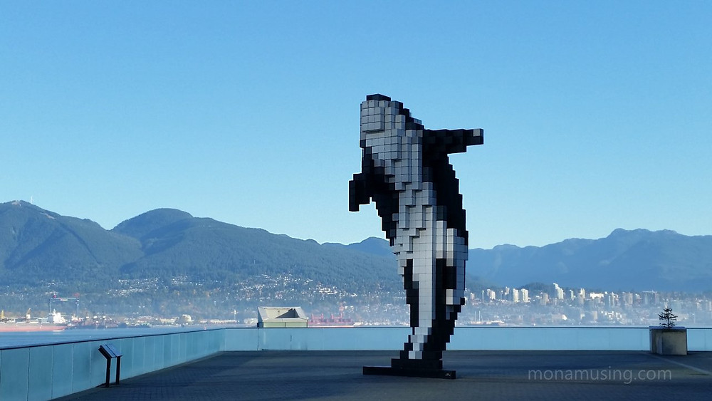 Douglas Coupland's 3D Orca sculpture at Canada Place in Vancouver