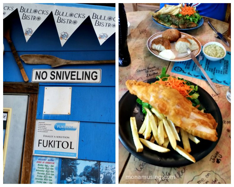 Bullocks Bistro entrance signs and fish and chips, yellowknife