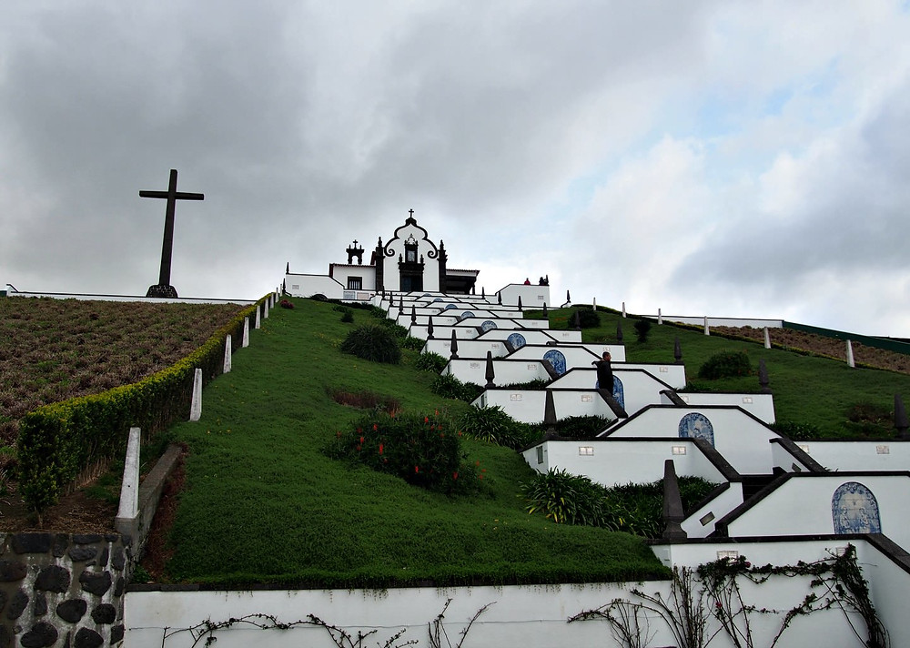 storm brewing over Nossa Senhora da Paz Sanctuary in Vila Franca de Campo on Sao Miguel Island