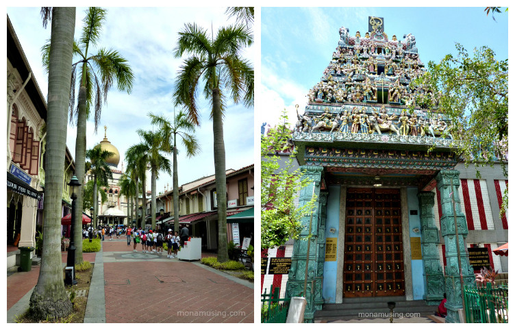 Singapore's Sultan Mosque on Arab Street and Sri Veeramakaliamman Hindu Temple in Little India