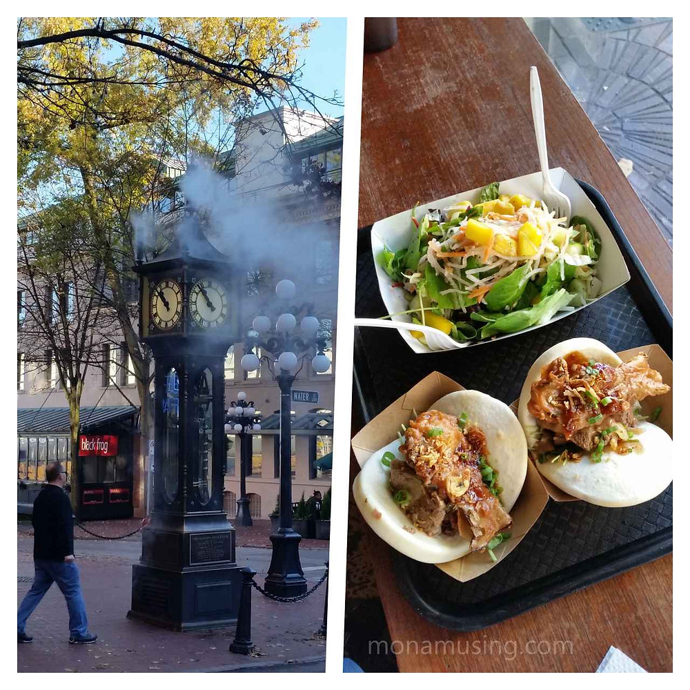 steam clock and food at Bao Down restaurant in Vancouver's Gastown distrit