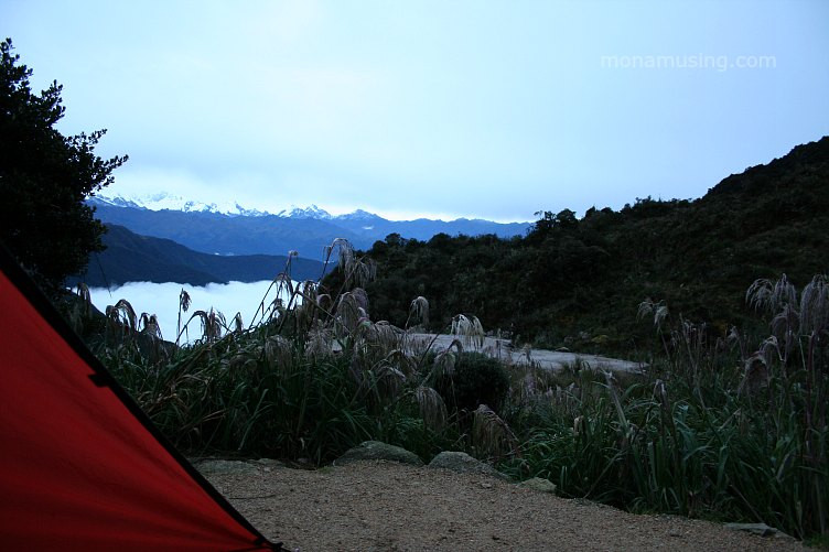view of the Andes from our tent along the Inca Trail
