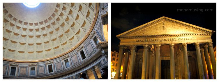 Interior and exterior night view of the Pantheon in Rome, Italy