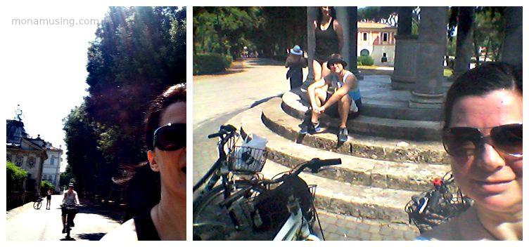 biking in Villa Borghese Gardens park in Rome