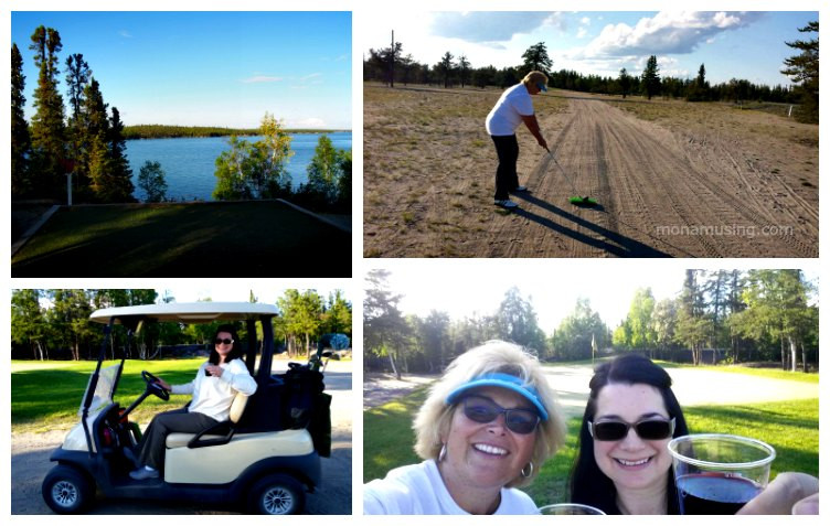 twilight golf and view of Long Lake at Yellowknife Golf Club
