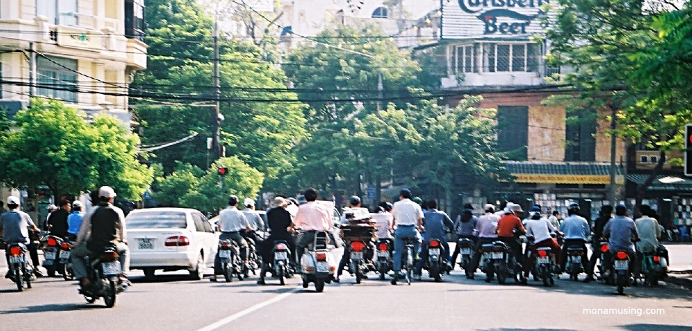 motorcycle traffic in Hanoi, Vietnam