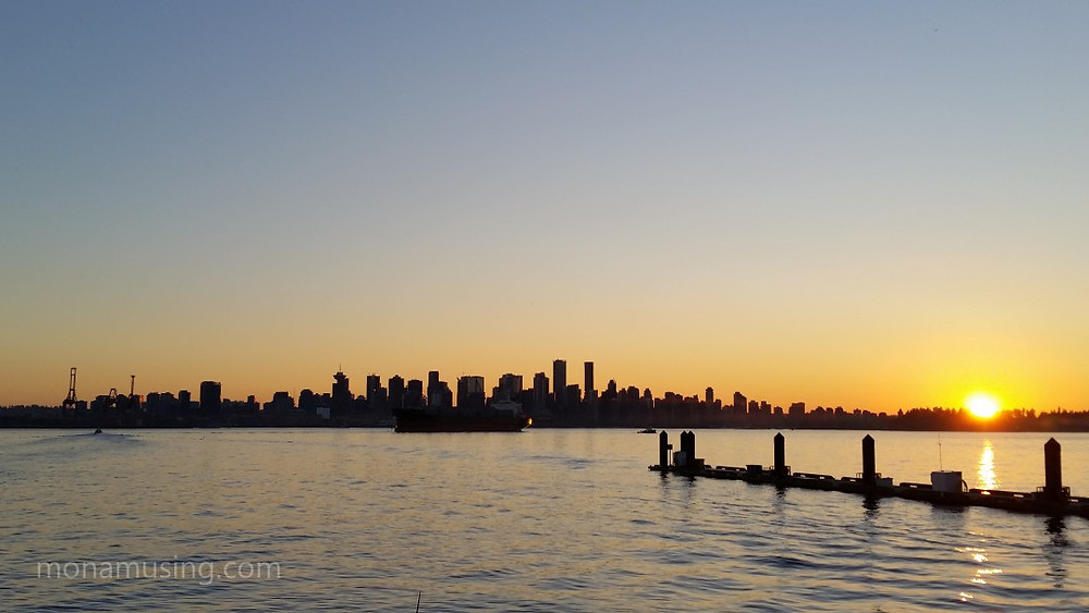 Vancouver skyline at sunset, viewed from North Vancouver